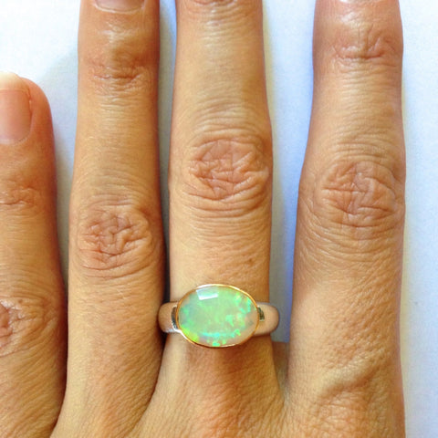Ethiopian Faceted Opal Ring