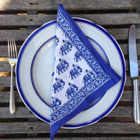Blue Elephant Napkins by Anokhi Set of 4