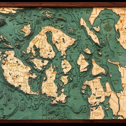 San Juan Islands Wood Chart Map