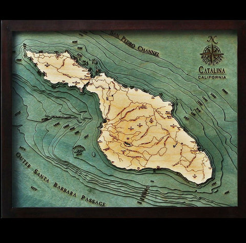 Santa Catalina Wood Chart Map
