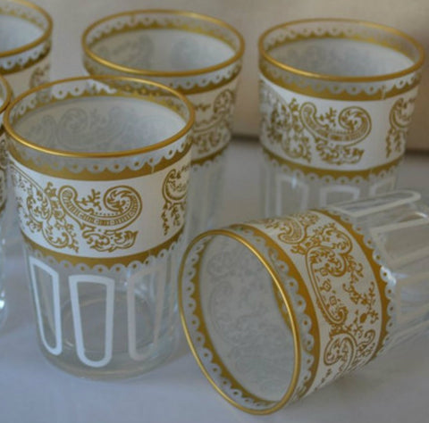 A Set of Six Gold Moroccan Tea Glasses