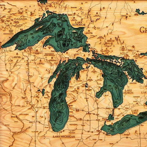 Great Lakes Wood Chart Map