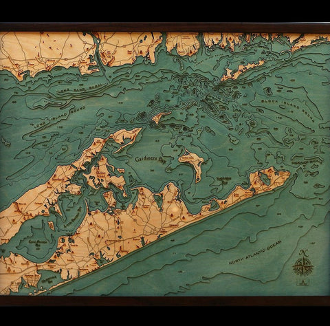 Long Island Sound Wood Chart Map