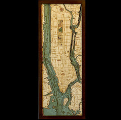 Manhattan Wood Chart Map