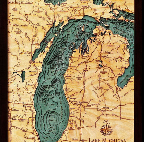 Lake Michigan Wood Chart Map