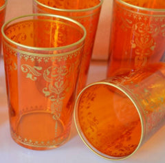 Orange Moroccan Tea Glasses