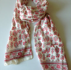 Salmon Trumpet Flower Scarf by Anokhi