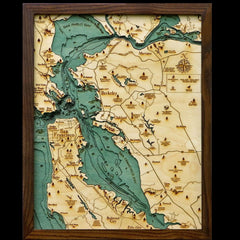 San Francisco Bay Wood Chart Map