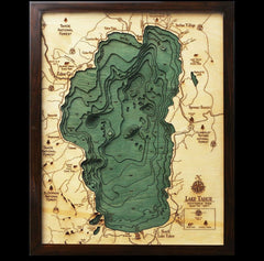 Lake Tahoe Wood Chart Map