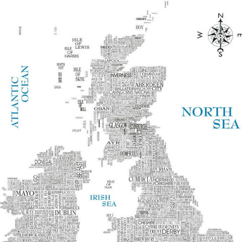 Word Map of Great Britain