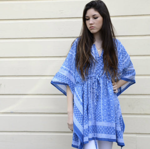 Peasant Tunic in Woven Blue by Anokhi
