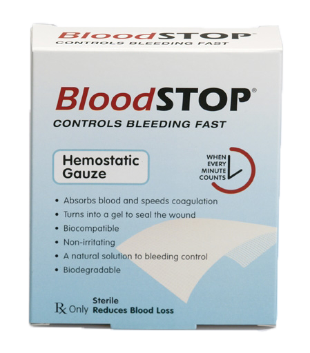 "BloodSTOP® Hemostatic Matrix, 2""x2"" (5x5cm), 20 pcs/Box - For Medical Professionals - LifeSciencePlus"