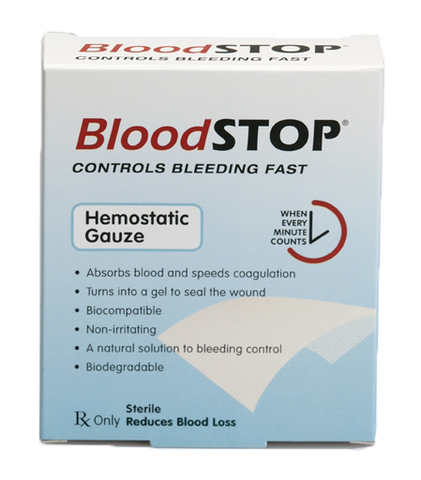"BloodSTOP® Hemostatic Matrix, 4""x4"" (10x10cm), 10 pcs/Box - For Medical Professionals - LifeSciencePlus"