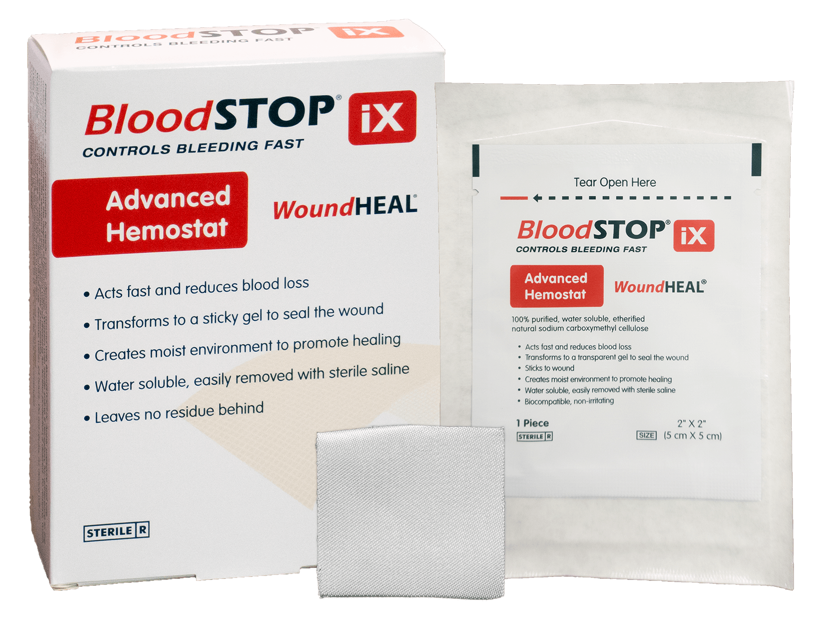 "BloodSTOP iX Advanced Hemostat and WoundHEAL Matrix, 2""x2"" (5x5cm), 12 pcs/Box - For Medical Professionals - LifeSciencePlus"