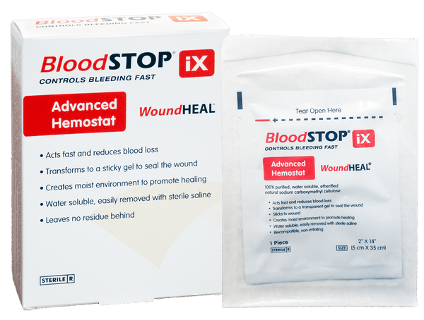 "BloodSTOP iX Advanced Hemostat and WoundHEAL Matrix, 2""x14"" (5x35cm), 12 pcs/Box - For Medical Professionals - LifeSciencePlus"