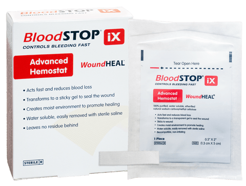 "BloodSTOP iX Advanced Hemostat and WoundHEAL Matrix, 0.5""x2"" (1.3x5cm), 24 pcs/Box - For Medical Professionals - LifeSciencePlus"
