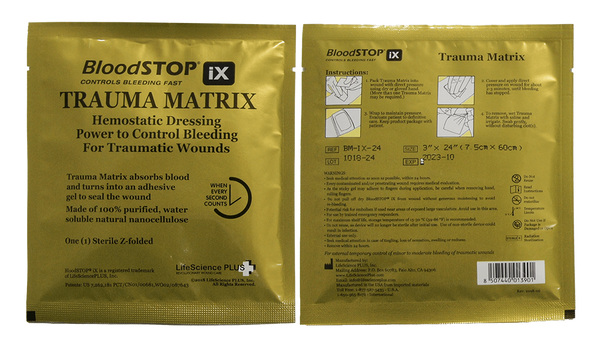 "BloodSTOP iX Advanced Hemostat Trauma Matrix, 3""x24"" (7.5x60cm) - For Medical Professionals - LifeSciencePlus"