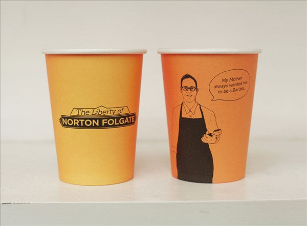 The branding of coffee cups