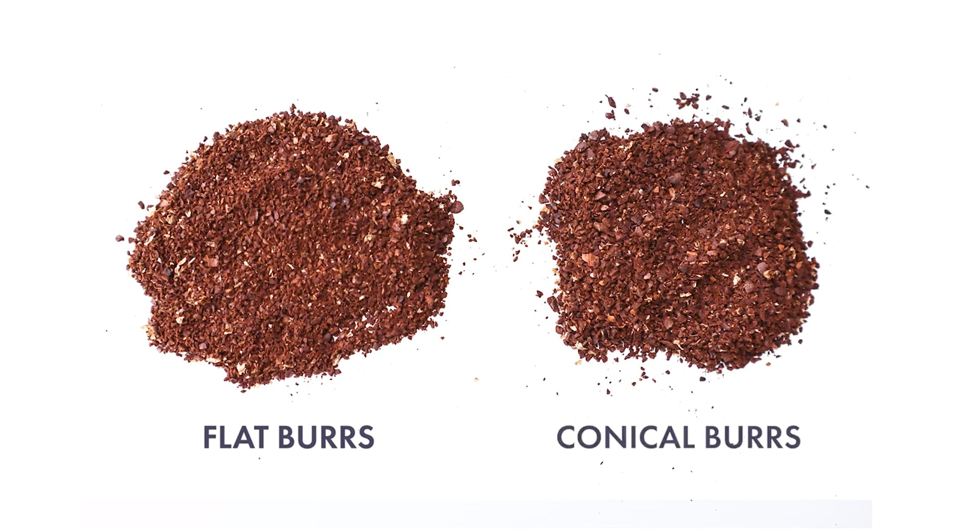 Ground coffee using flat burrs vs conical burrs