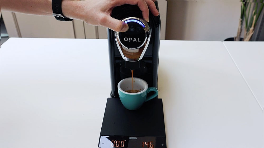 Setting Opal machine weight with a set of scales
