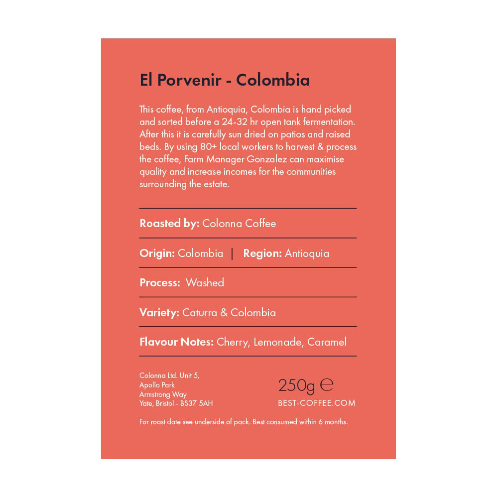 Best Coffee On the House Filter Coffee Beans - El Porvenir - Colombia - 250g