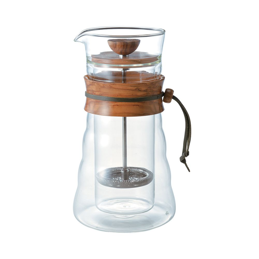 Hario Double Wall Cafe Press Olive Wood 400ml