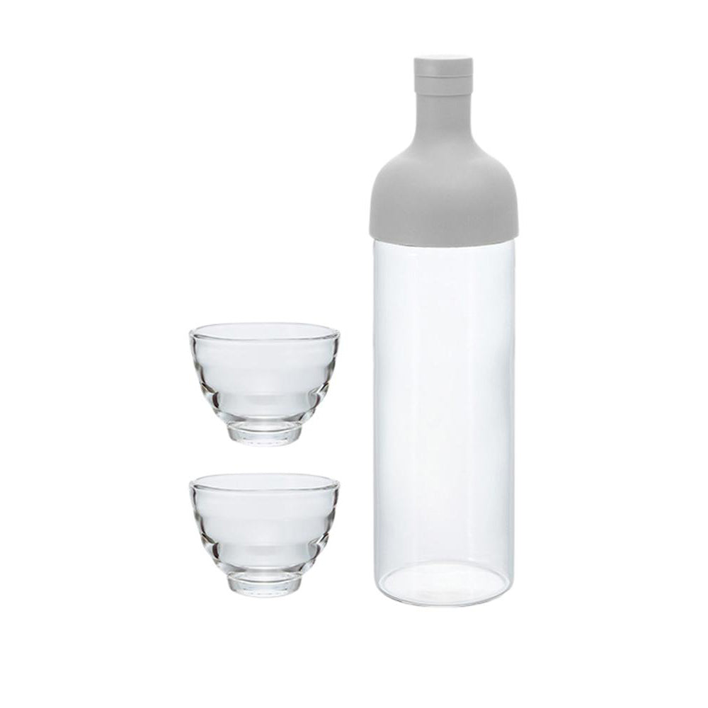 Hario Filter in Bottle and Tea Glass Set (Pale Grey)
