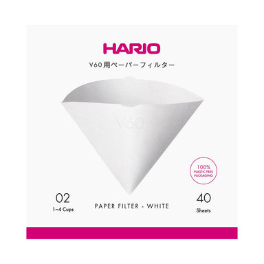 Hario V60 Coffee Filter Papers - Size 02 - White (40 sheets)