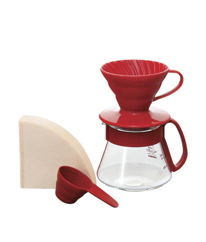 Hario V60 Pour Over Kit Ceramic Red 01