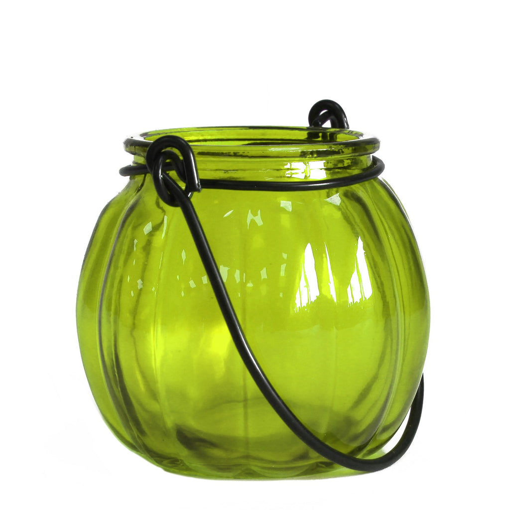 Recycled Pumpkin Candle Lantern - Moss