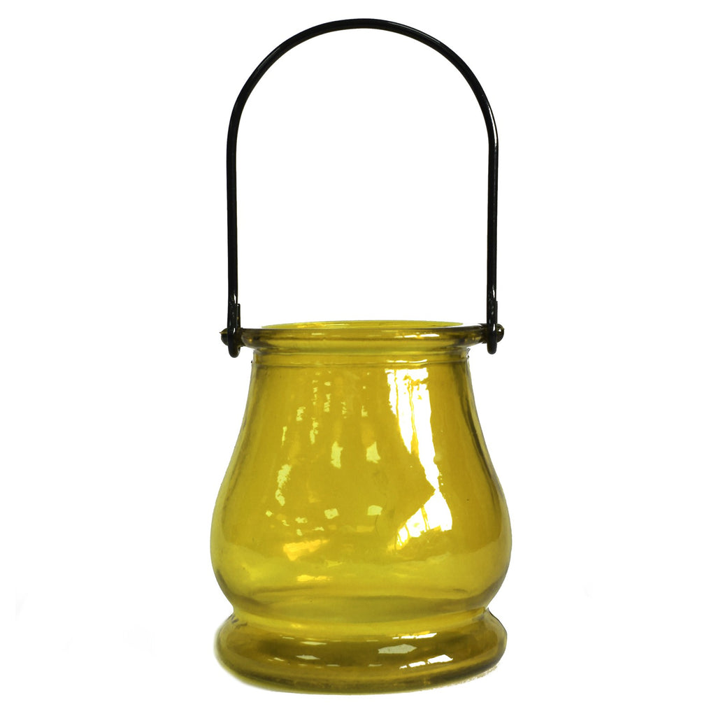 Recycled Candle Lantern - Yellow