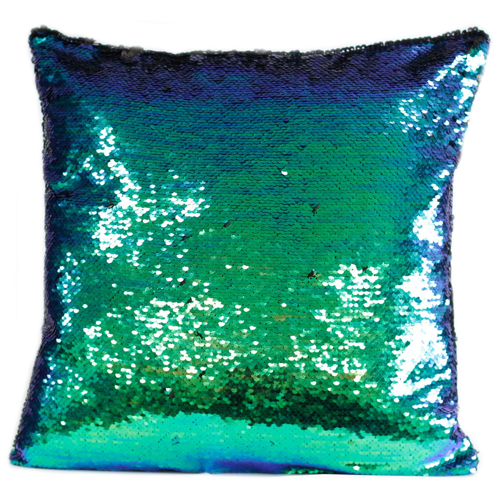 2x Mermaid Cushion Covers - Midnight Black in an Aqua Sea