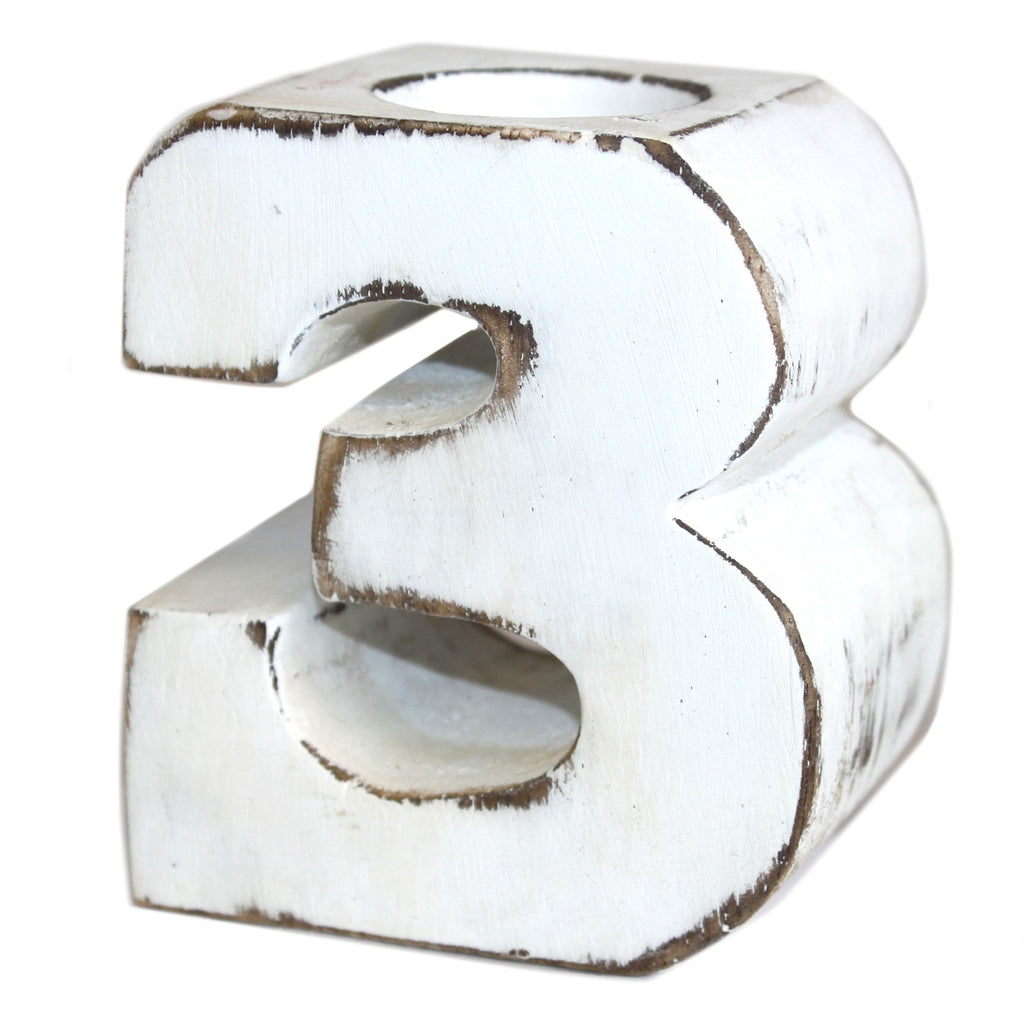 Wooden Birthday Number Candle Holder - No. 3