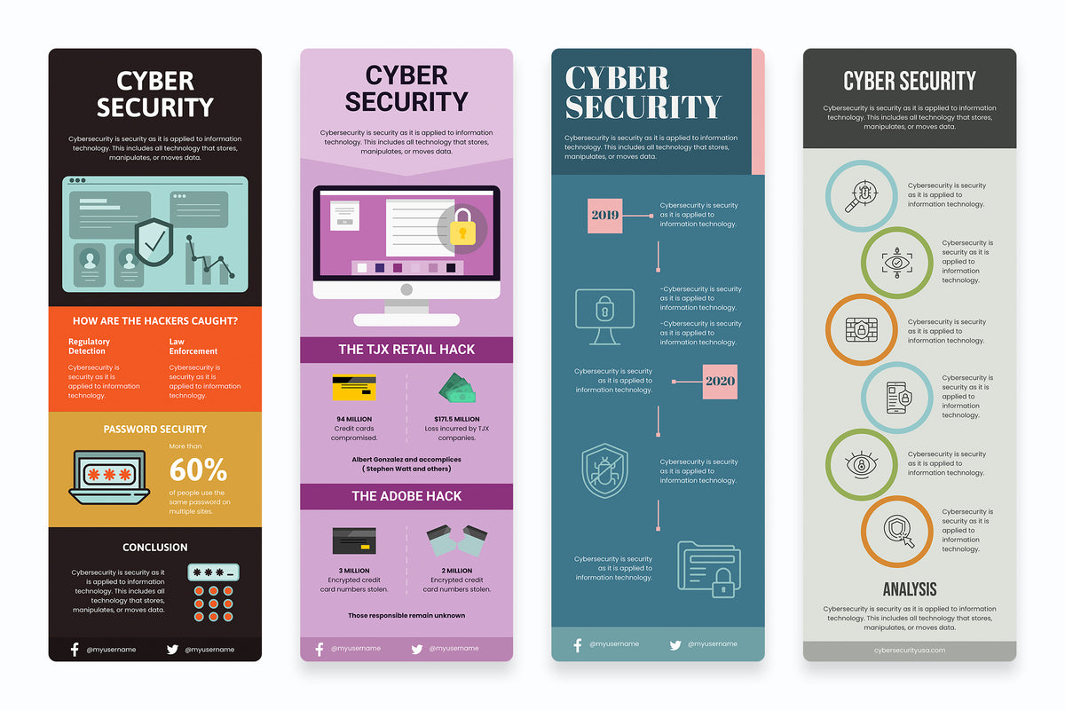 Cyber Security Vertical Infographics