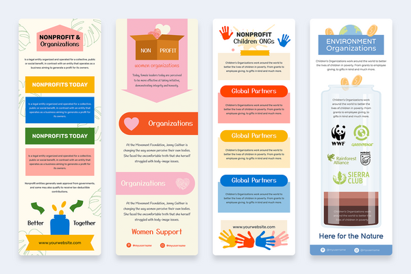Nonprofit Vertical Infographic Templates