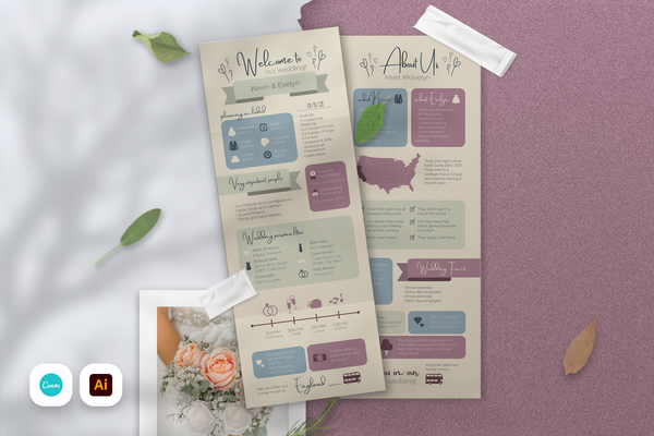 Catherine Infographic Wedding Program Template for CANVA & ILLUSTRATOR