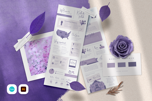 Kelly Infographic Wedding Program Template for CANVA & ILLUSTRATOR