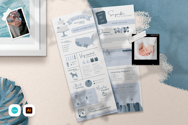 Tiffany Infographic Wedding Program Template for CANVA & ILLUSTRATOR