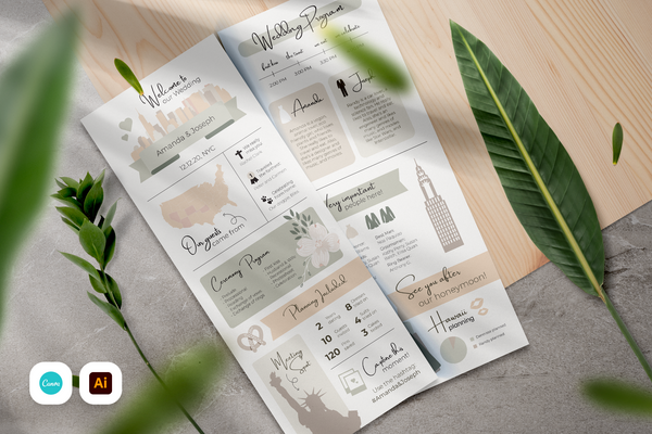 Fatima Infographic Wedding Program Template for CANVA & ILLUSTRATOR