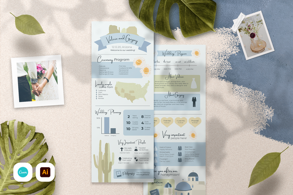Cassandra Infographic Wedding Program Template for CANVA & ILLUSTRATOR