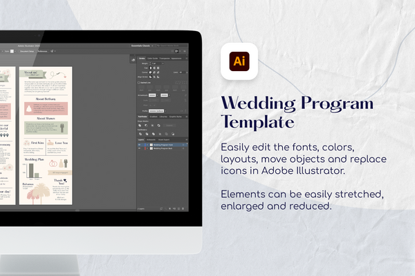 Avah Infographic Wedding Program Template for CANVA & ILLUSTRATOR