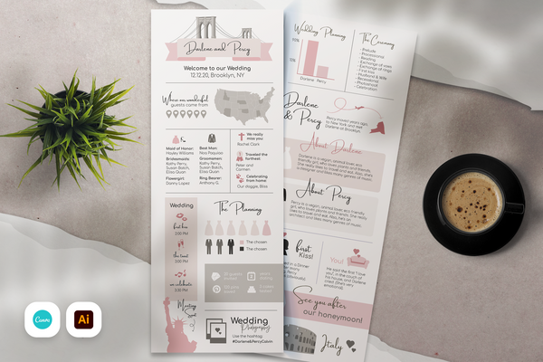 Gracie Infographic Wedding Program Template for CANVA & ILLUSTRATOR