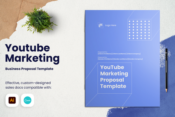 YouTube Marketing Proposal Template for CANVA & ILLUSTRATOR