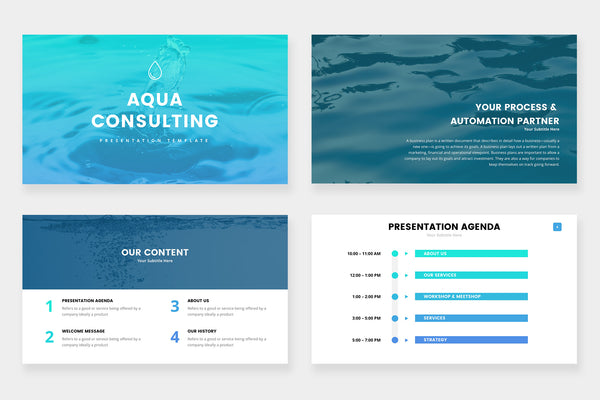 Aqua  Consulting PowerPoint Template