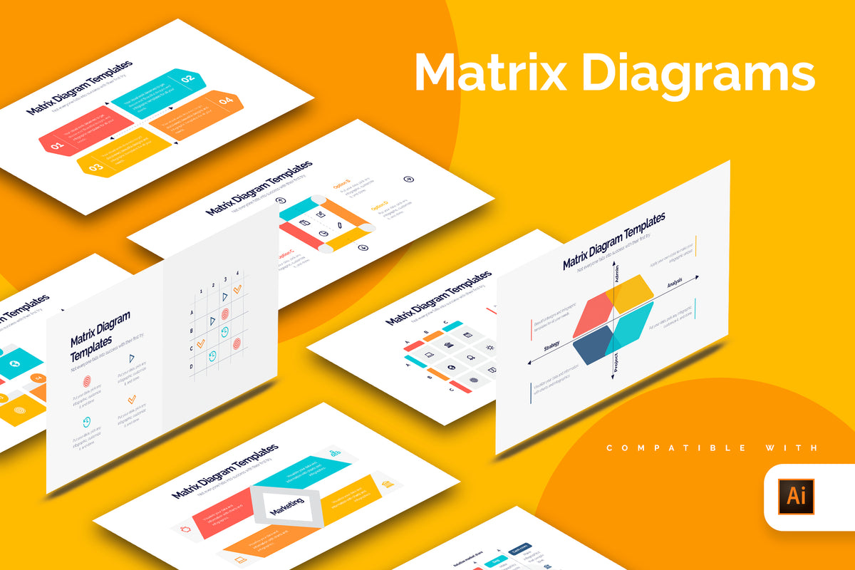 Matrix Diagram Illustrator Infographics