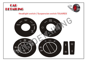 VW Touareg Radio Climate Headlight Window Switch Button Repair Vinyl Stickers - ButtonRestore