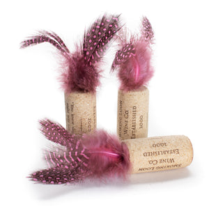 Spotted Feather Wine Cork Cat Toys