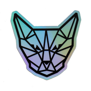 Geometric Cat Head Holographic Sticker