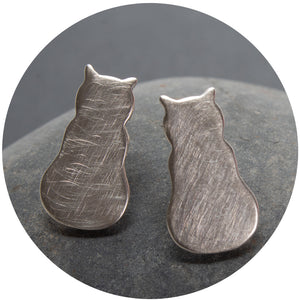 Sterling Silver Kitty Earrings by Heather Magill
