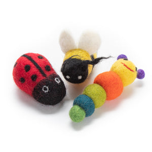 Bugs & Bees Felted Wool Cat Toys from Karma Cat (Set of 3 toys)